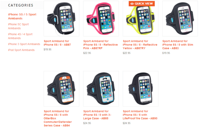 TuneBelt website, Apple iPhone 5/5s case options