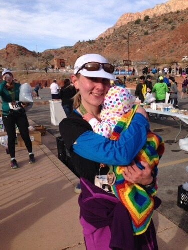 Hugging my baby at the Zion Half finish