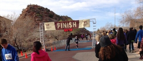 Crossing the Zion Half Marathon Finish Line