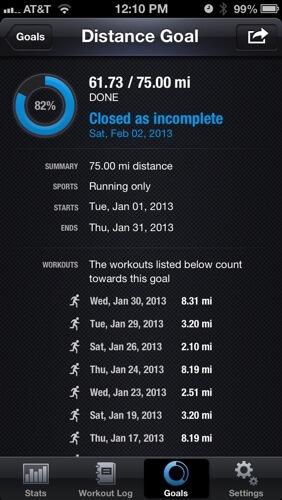 Active Goals - January Running Goal