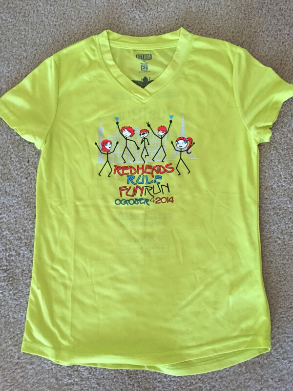 Redheads Rule 5K 2014 race shirt