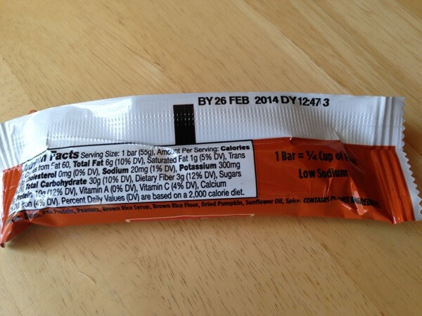 Larabar Alt pumpkin pie nutrition label