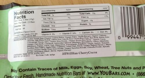 YouBars nutrition