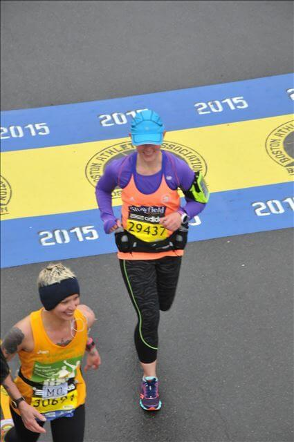 Crossing the finish line at the Boston Marathon