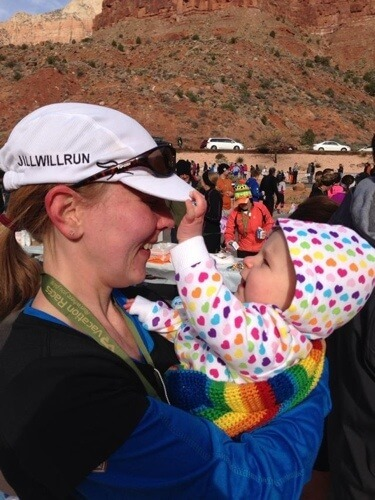 My sweet baby proud of her mama at the finish