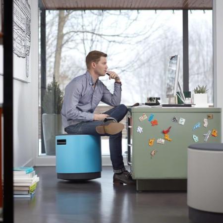 Man sitting on a Buoy chair