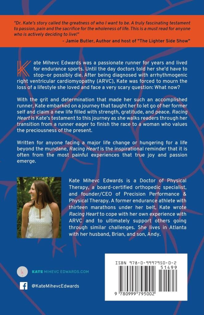 Racing Heart by Kate Mihevc Edwards - Back Cover