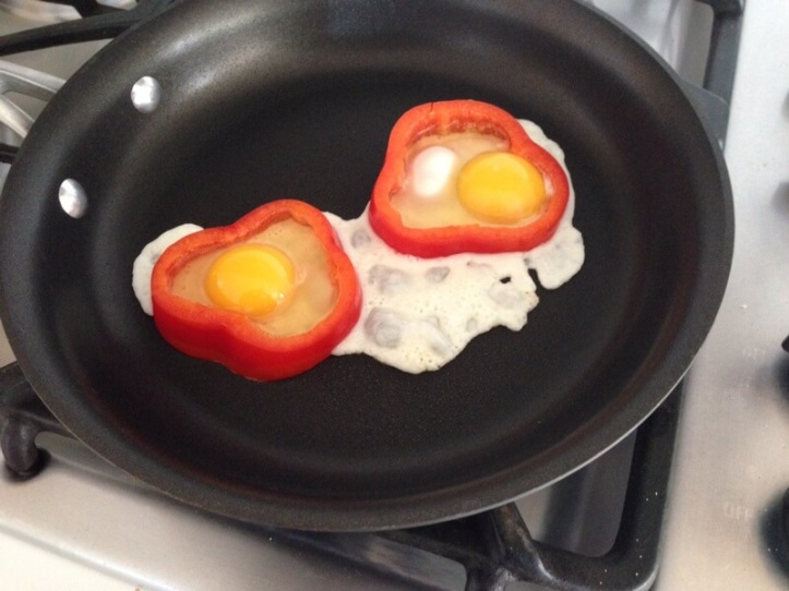 Eggs in pepper cooking