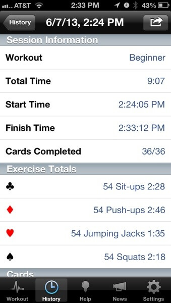 Rip Deck workout history