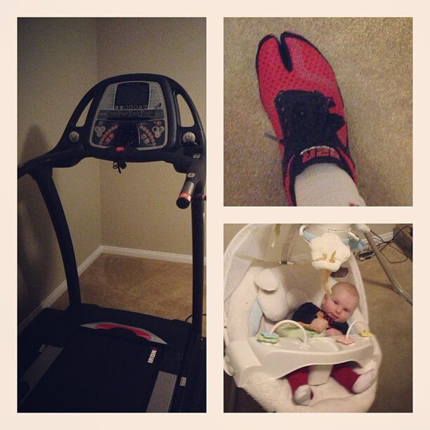 Treadmill, Born2Run shoes and a baby in a swing