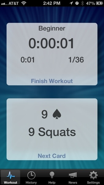 RipDeck Workout screen