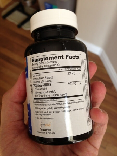 Stress and Sleep supplement facts label