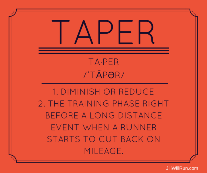 ta·per 1.diminish or reduce 2.the training phase right before a long distance event, such as a marathon, when a runner starts to cut back on his or her mileage.