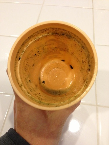 Empty cup after green drink