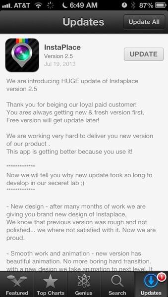 InstaPlace Update 1