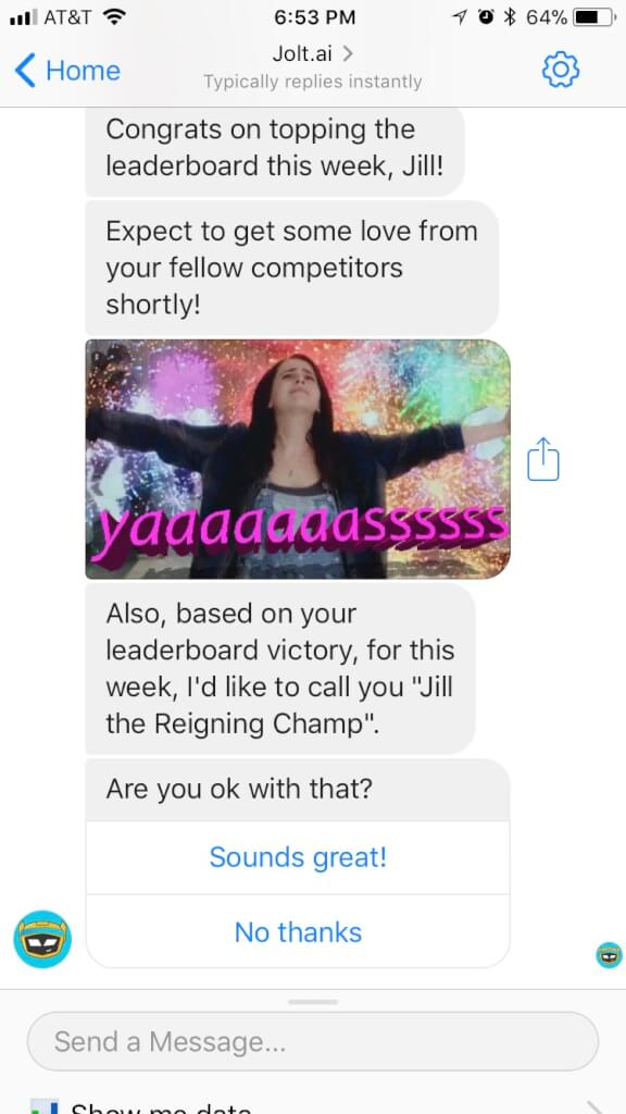Jolt called me the Reigning Champ