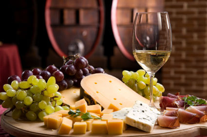 Wine and cheese and grapes