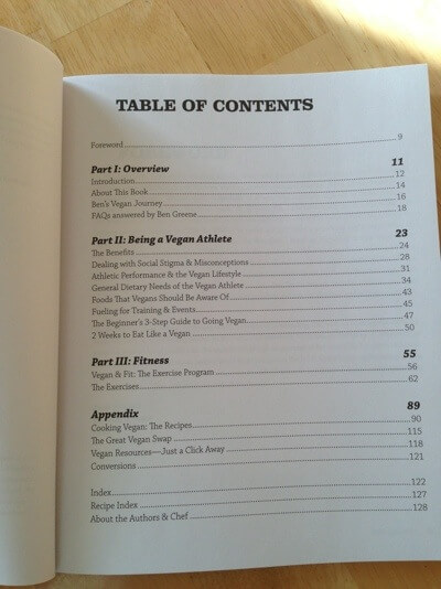 Vegan Athlete table of contents