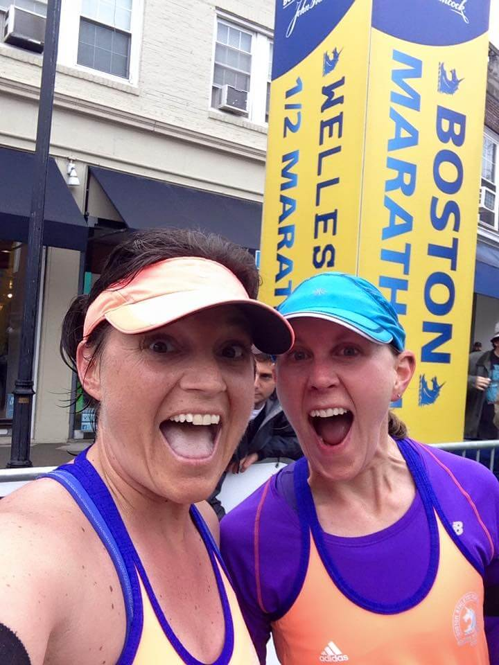 Rachel and Jill at the 13.1 mile point of the Boston Marathon