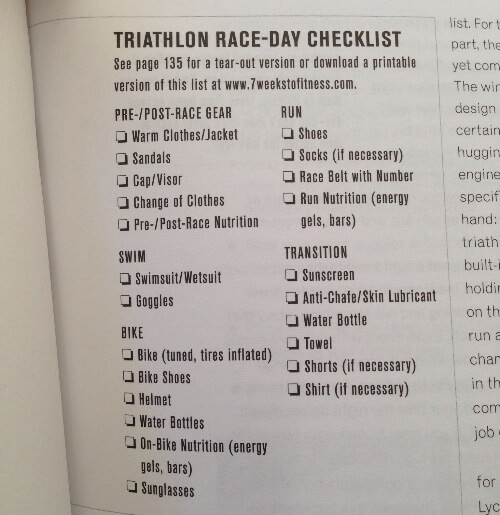 7 Weeks to a Triathlon race day checklist