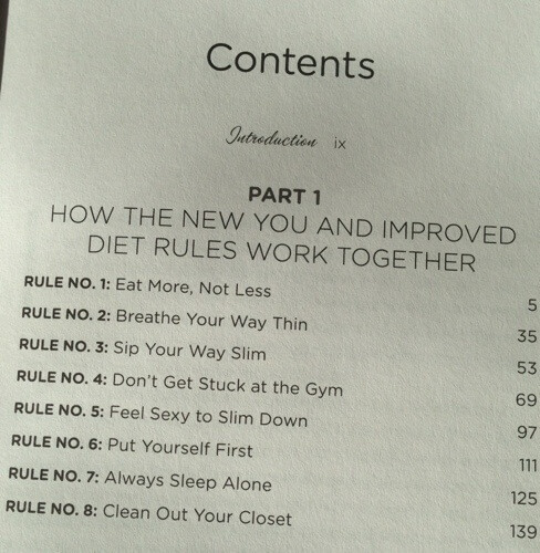 The New You and Improved Diet table of contents