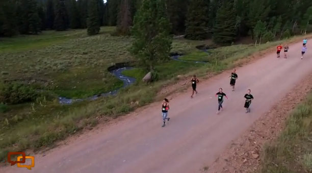 Aerial photo shot by a drone during the Parowan City Half Marathon, August 1, 2015
