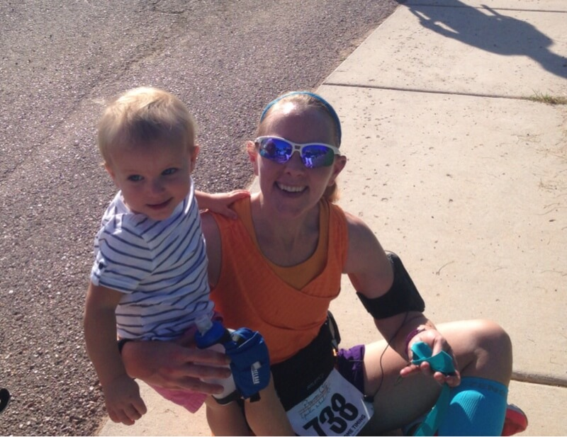 Mommy and toddler at the finish.