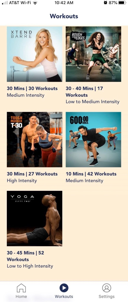 Screenshot of the workout chooser portion of the OpenFit app showing the 5 main programs available.