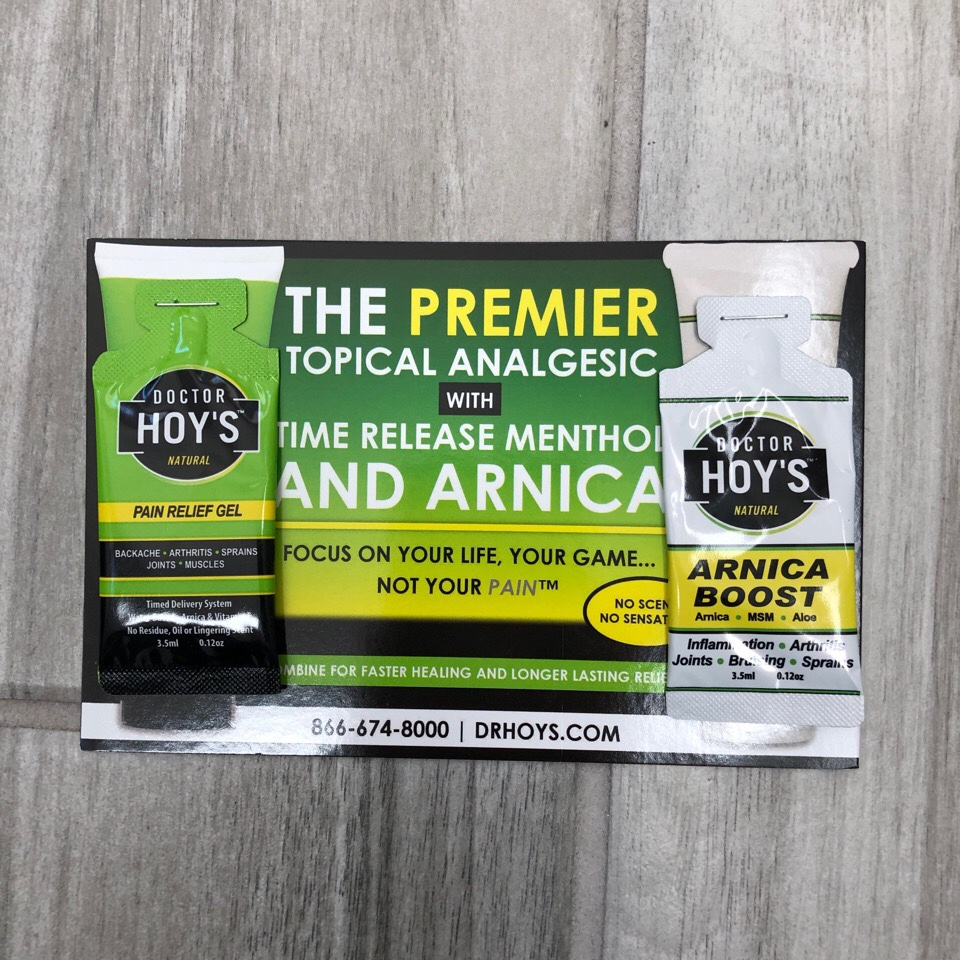 Doctor Hoy's pain relief and arnica boost sample packets