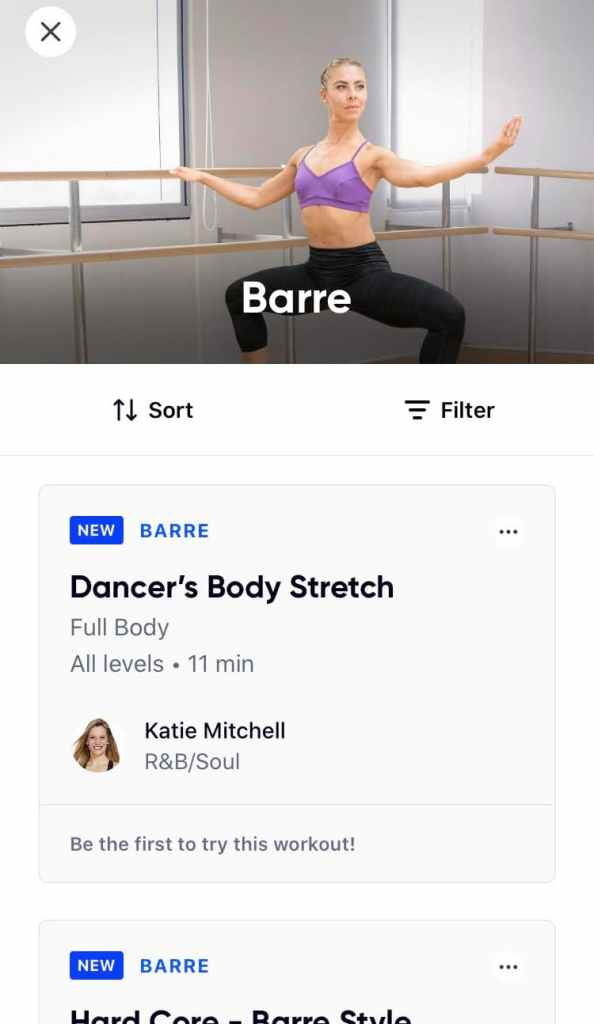 App screenshot of the Aaptiv barre category